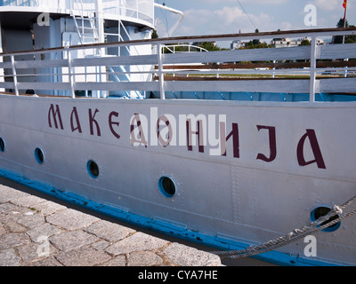 'Makedonija' (Macedonia), written in the Cyrillic alphabet on the side of a boat on Ohrid Lake, Republic of Macedonia - Stock Photo