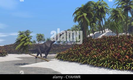 3d illustration of the grazing brachiosaurus - Stock Photo