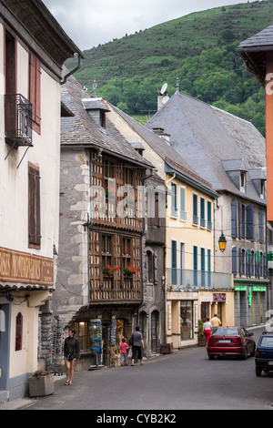 Street of a small town Arreau in Hautes-Pyrénées, France - Stock Photo
