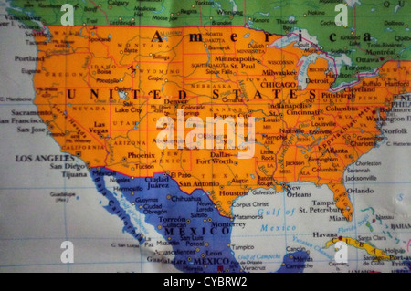 Image of a map of North America - Stock Photo