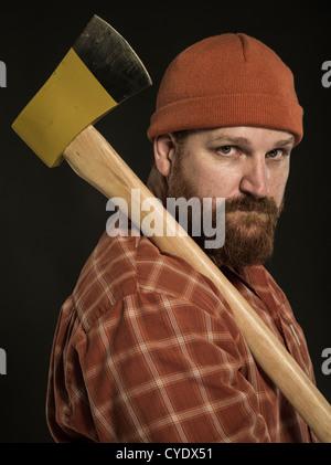 Woodcutter  / Lumberjack  with axe - Stock Photo