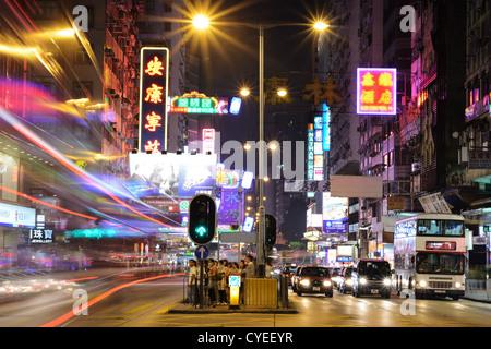 Nathan Road in Hong Kong, China. - Stock Photo