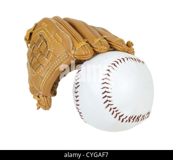 Baseball glove and ball for the national past time for summer afternoons - path included - Stock Photo