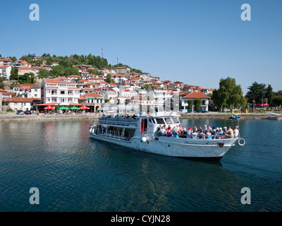 The Christina Royal pleasure boat taking passengers across Lake Ohrid from Ohrid town to Sveti Naum monastery complex, - Stock Photo