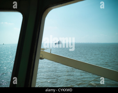 Ship and ocean viewed from bridge - Stock Photo