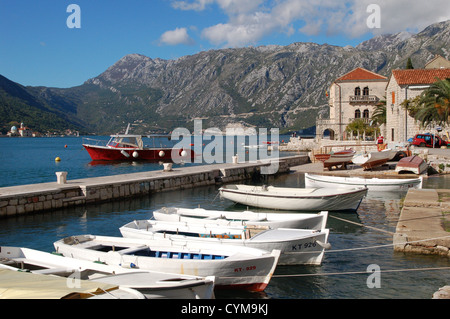 Boats in the harbour at Perast on The Bay of Kotor, Montenegro - Stock Photo