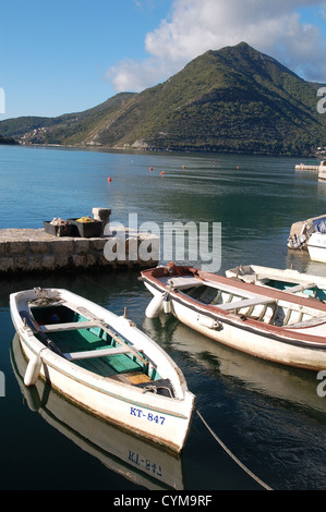 Boats in the harbour, Perast, Montenegro - Stock Photo