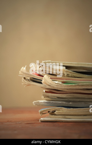 Stack of old magazines, close up - Stock Photo