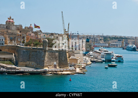 Fort St Michael at the tip of the fortified city of Senglea on the eastern shore of Grand Harbour, Malta - Stock Photo