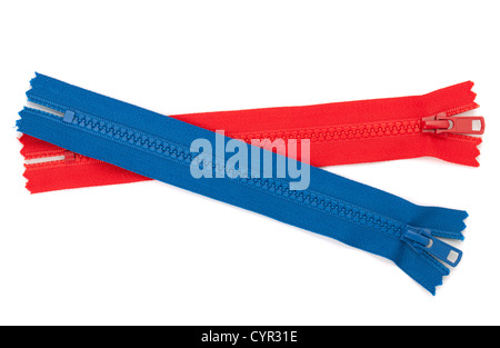 Blue and red zippers. Isolated on white background - Stock Photo