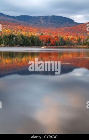 Loon Lake On An Overcast Autumn Evening, Adirondack Mountains, New York - Stock Photo