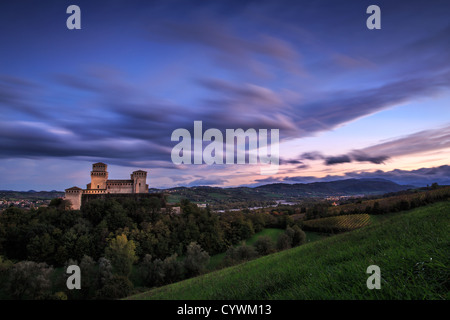 Afternoon light falls on Torrechiara Castle, Emilia-Romagna, Italy - Stock Photo