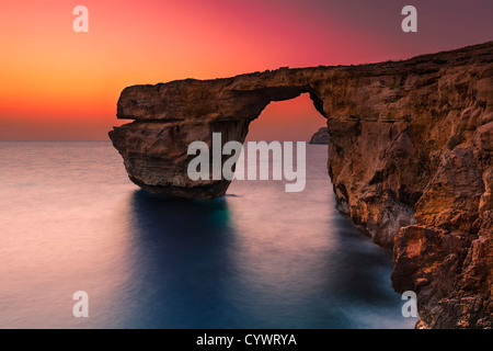 The Azure Window on the coast of the Maltese island Gozo - Stock Photo