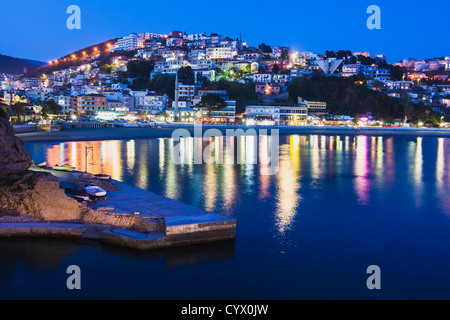 Mala Plaza beach and Ulcinj town at dusk. Montenegro - Stock Photo