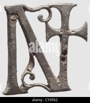 A Roman officerïs belt fittings, 4th century A.C. Silver with dark patina. Finely pierced buckle and the four characters - Stock Photo