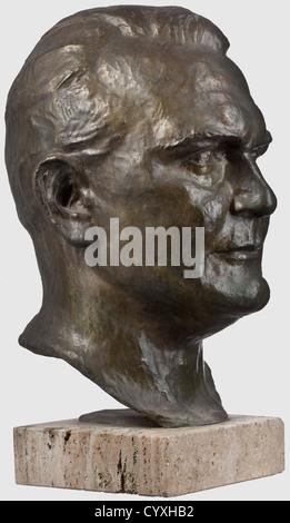 Erich Schmidt-Kestner (1877 - 1941), a larger than life-sized portrait head of Hermann Göring Dark patinated bronze, - Stock Photo