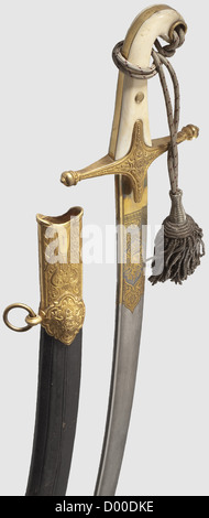 A sabre à la Mameluke, 2nd half of the 19th century. Curved pipe-back Damascus steel blade with a pandour point, - Stock Photo