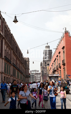 Calle Moneda - long avenue in Historical Centre of Mexico City DF - Stock Photo