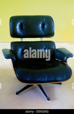 Black Leather Eames Chair - Stock Photo