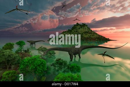 Dinosaur Bay, Set During Earths Late Jurassic Era. - Stock Photo