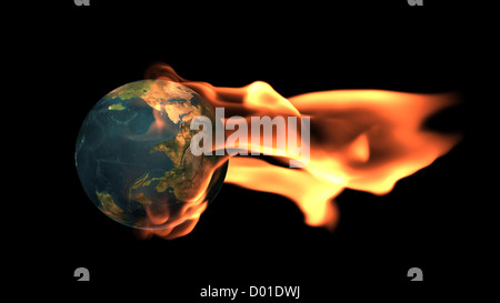Global warming concept,planet Earth surrounded by flames - Stock Photo