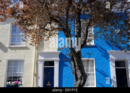 Brightly painted houses in the Royal Borough of Chelsea and Kensington - Stock Photo