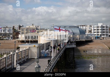 View of the beach and Worthing seafront from the end of Worthing Pier, West Sussex, UK - Stock Photo
