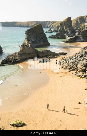 Bedruthan Steps Beach, people, North Cornwall, England, UK - Stock Photo