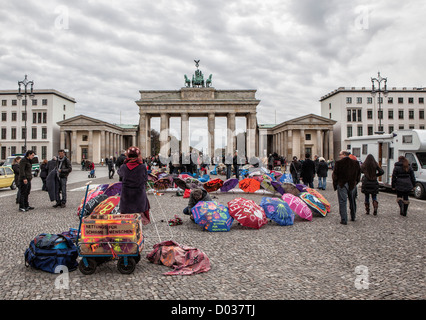 Asylum seekers protest against deportation,living conditions and slow processing of residency applications at  Brandenburg - Stock Photo