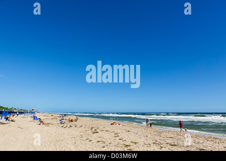 Beach at Delray Beach, Palm Beach County, Treasure Coast, Florida, USA - Stock Photo