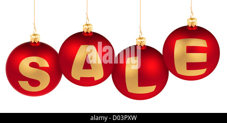 sale word made of christmas tree decoration red balls for winter advertisement - Stock Photo
