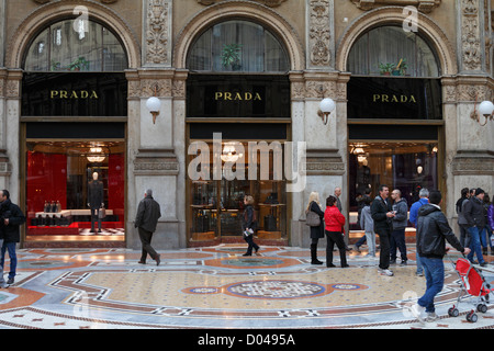 Prada store in Galleria Vittorio Emanuele II, Milan, Italy, Europe. - Stock Photo