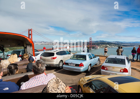 San Francisco - Golden Gate view from an open top tour bus, parking area. - Stock Photo