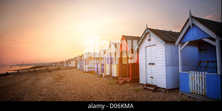 Beach huts at Southend On Sea - Stock Photo
