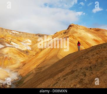 Fumarole field in Namafjall, Iceland - Stock Photo