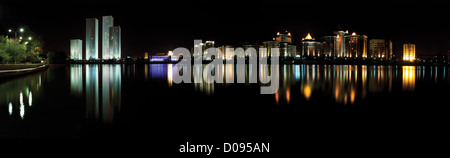 Astana. kazakhstan night panorama - Stock Photo