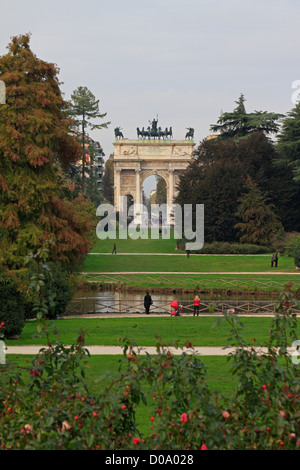 Sempione Park and the Arch of Peace, Arco della Pace, Milan, Italy, Europe. - Stock Photo