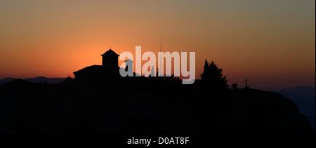 Agios Stefanos monastery at Meteora, Greece sunrice - Stock Photo