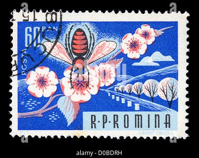 Vintage postage stamp printed by the Romanian Post shows honey bee on almond tree blossom illustration, circa 1963. - Stock Photo