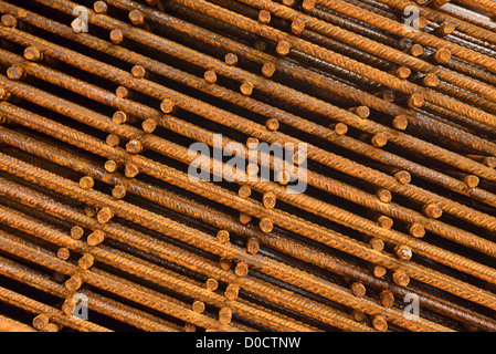 reinforcing mesh, steel bars stacked for construction - Stock Photo