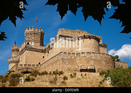 Castle of the Mendoza in Manzanares El Real Madrid Spain Castillo de los Mendoza en Manzanares El Real Madrid España - Stock Photo