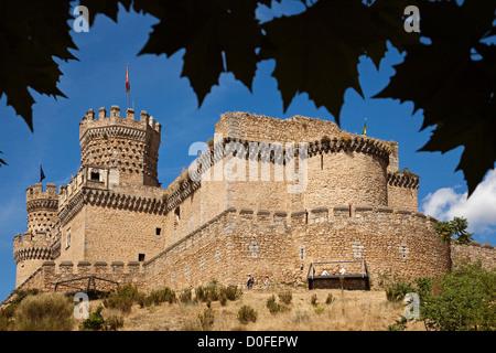 Castle of the Mendoza in Manzanares El Real Madrid Spain Castillo de los Mendoza en Manzanares El Real Madrid España - Stock Photo