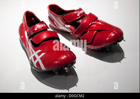 November 25, 2012, Tokyo, Japan - The soccer boots Lethal Stats by Asics at Good Design Best exhibition. Good Design - Stock Photo