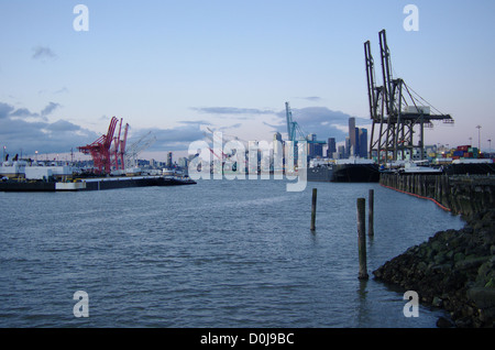The Port of Seattle is viewed from the West Seattle area in late afternoon near sunset. - Stock Photo