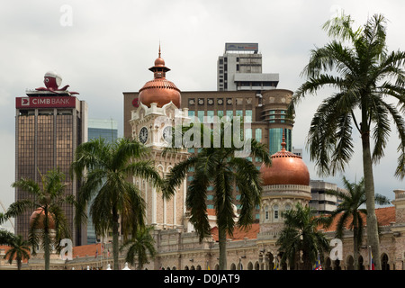 A view of central Kuala Lumpur with Sultan Abdul Samad building and banks - Stock Photo
