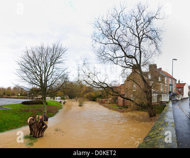 Heavy rain has brought flooding to many parts of the UK with North Yorkshire being particularly badly hit.  Here - Stock Photo