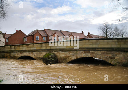 Heavy rain has brought flooding to many parts of the UK with North Yorkshire being particularly badly hit.  This - Stock Photo