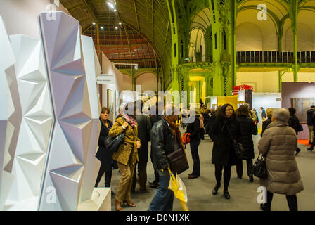 Paris, France, Crowd inside Amateur Art Show, 'Art en Capital', Salon des Artistes Français, in the Grand Palais, - Stock Photo