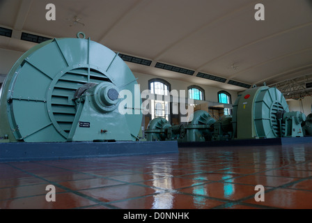 The massive General Electric turbine pumps in the pump room of the R. C. Harris water treatment plant in Toronto - Stock Photo