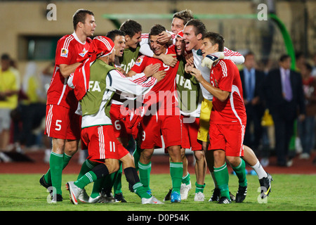 Hungary team players celebrate their victory over Italy in a 2009 FIFA U-20 World Cup quarterfinal match at Mubarak - Stock Photo